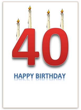 40th Birthday Card with Candles