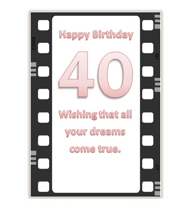 Printable 40th Birthday Card