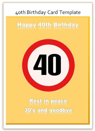 Funny 40th Birthday Card As A Congratulation Template