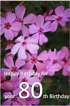 80th Birthday Card With Flowers