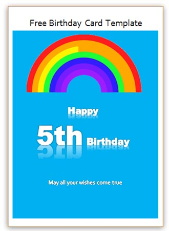 5th Birthday Card Word Template