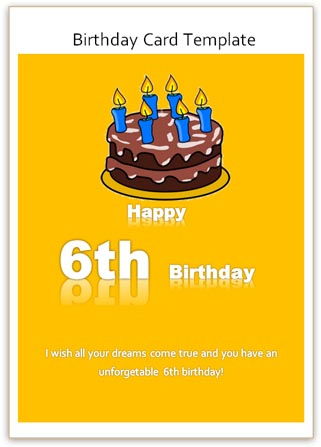 Printable Birthday Card For 6th