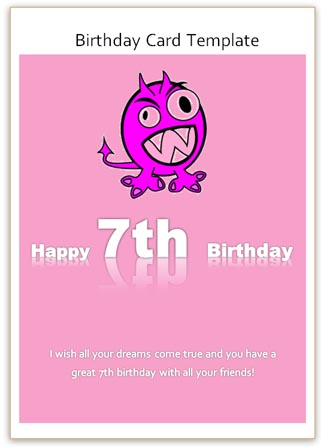 7th Birthday Card Template Printable Pink Word Card