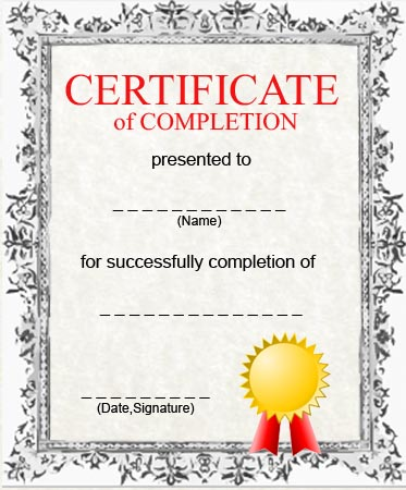 Free printable certificate of completion template certificate of completion template yelopaper Image collections