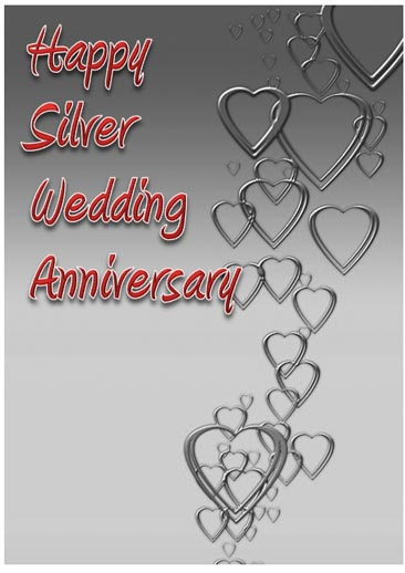 Silver Wedding Anniversary Card with Hearts