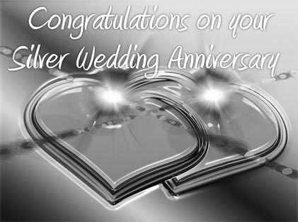 Silver Wedding Anniversary Greeting Card