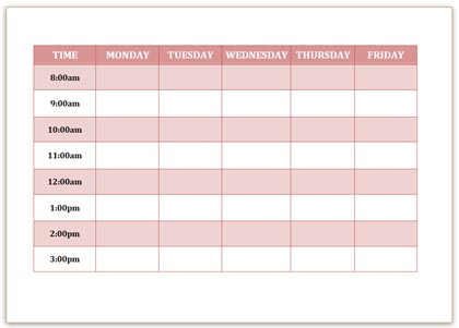 Simple Timetable to print