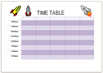 Printable Schedule with Rockets