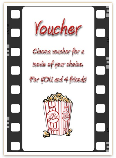Free Cinema Voucher Template  Free Printable Vouchers Templates