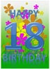 18th Birthday Card Template with Flowers and Nature