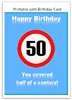 Funny 50th Birthday Card - free word template