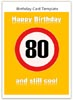 Cool 80th Birthday Card - Free Card Template