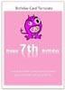 7th Birthday Card Template - printable pink Word card
